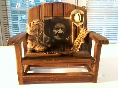 "Cowboy Picture Frame Western Bench - Collectible 7""x7""x7"", Excellent"