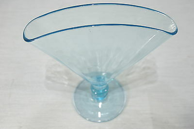 Lovely Vintage Blue Fan Shaped MANGANESE Optic Glass VASE, EXC!