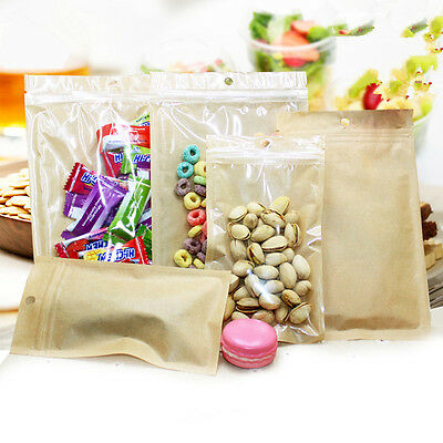 Kraft Paper Bags Zip Lock Food Grade Hang Hole Front Clear Candy Snack Pouches