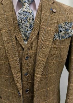 Men's Brown Check Tailored Fit 3 Piece Tweed Suit Perfect For Weddings!