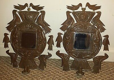 Reproduction 18th Century Punched Tin Candle Sconces Mirror & Birds