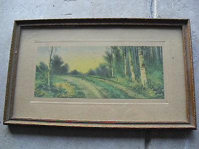 Vintage Early 1900s Print Dirt Road in the Woods Framed LOOK