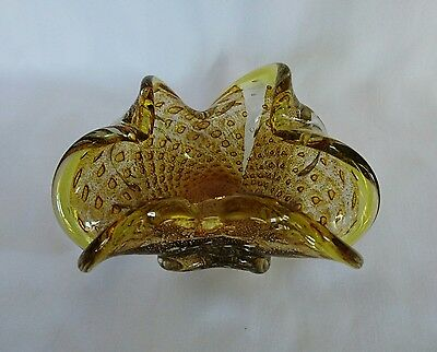 Yellow Art Glass Bowl Gold Fleck 7 in.