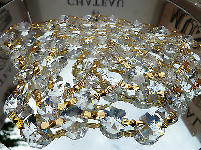 100 Chandelier Crystal 14MM Beads On Brass Link Chain -Wedding/ Chandelier