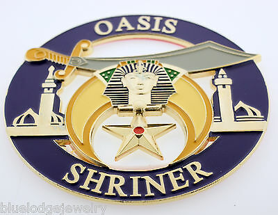 Blue OASIS Shriner Cut Out Zinc Alloy Automobile Car Emblem Masonic Family