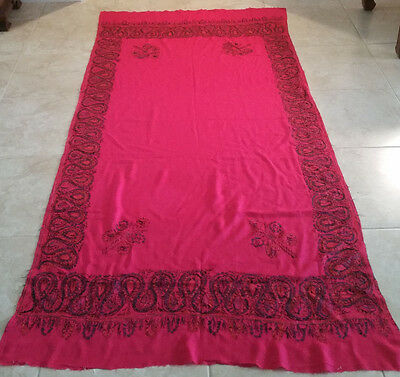 """Suzani Table Cover Hand Knotted Embroidery 7' 11"""" X 3' 7"""",antique"""