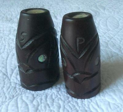 Vintage Carved Wood New Zealand Tribal Maori Tiki Salt & Pepper Paua Shell Eyes