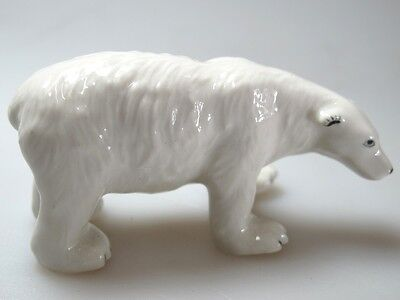 Hand Painted Miniature Collectible Ceramic Polar Bear Figurine Sculpture Zoo