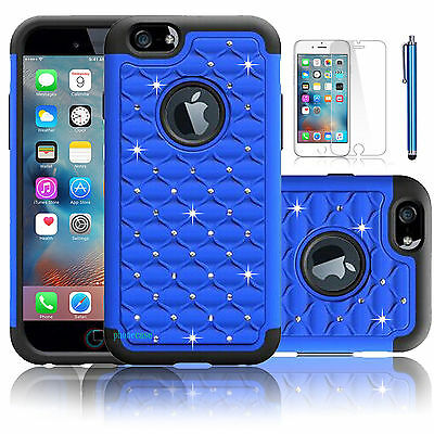 Bling Diamond Rubber Heavy Duty  Blue Cover Case  For Iphone 6 Plus {g10