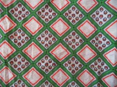 2.15 M X 92 Cms Vintage 1960's Cotton Seersucker Fabric Green Red White Squares
