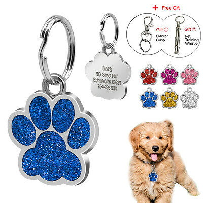 Glitter Paw Print Custom Pet Dog Tags Engraved Poodle Cat Kitty ID Tag Chihuahua