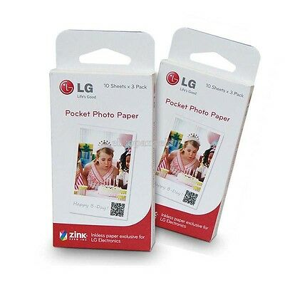 Portable Pocket Photo PoPo Zink 30 Sheets Paper for LG PD239 PD233 PD251