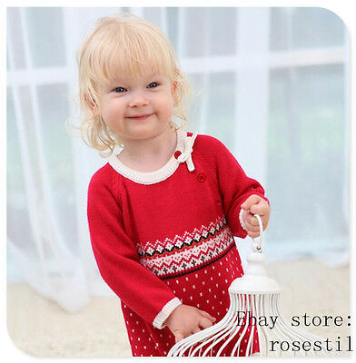 1pcs Kids Baby Warm Romper Jumpsuit Bodysuit Hooded Red cotton sweater Clothes