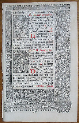 Book of Hours Leaf Hardouin Woodcut Border Saint Catherine Barbara - 1510