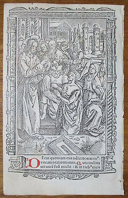 Book of Hours Leaf Hardouin Woodcut Border Miniature Jesus Healing - 1510