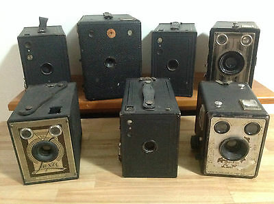 7 X Vintage Brownie & Other Box Cameras, Photography, Cameras, Collectable