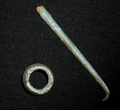 VIKING Ancient BRONZE HOOK and BEAD - Decoration for BEARD Circa 700-800 AD  -18