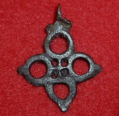 VIKING Ancient Artifact BRONZE OPENWORK CROSS Amulet / Pendant Circa 1150 AD  -3