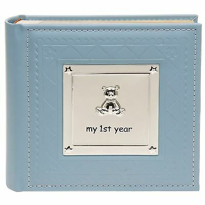 "My First Year Blue Baby Photo Album 17.5cm High 50 Pages Takes 6"" x 4"" 15 x 10cm"