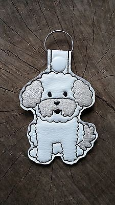 Bichon Frise Embroidered Key Fob, Key Chain, Luggage Tag, Bag Clip, Key Ring
