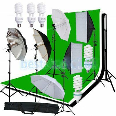 2017 Photo Studio Photography Kit 4 Light Bulb Umbrella Muslin 3Backdrop Stand