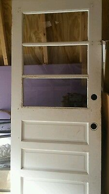 Vintage Wood Wooden Exterior Entry Side Back Door Glass Lite Pane Window