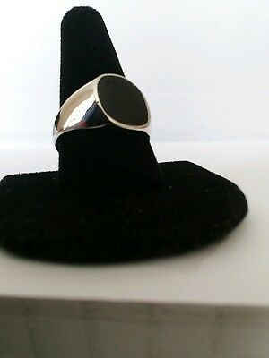 Men's  Black  Onyx  Ring  In Silver  Plated  Size W 1/2