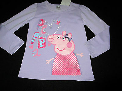 Girls Peppa Pig lilac  long sleeve tee top  Size 1,2,3     NWT