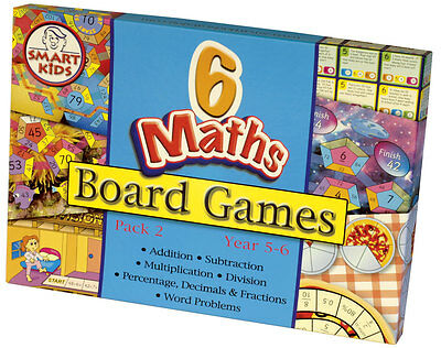 Smart Kids Six Maths Board Games - Pack 2 -  Learning Maths Games - NEW