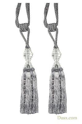 DUSX Silver Tassel Curtain Tie Back  with Crystal - Pair