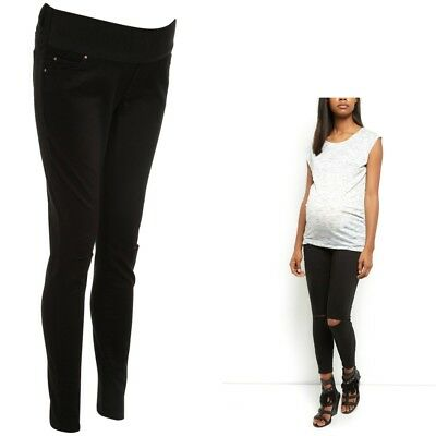 Maternity New Look Black RIPPED Super Skinny Jeans Under The Bump Sizes 10 - 18