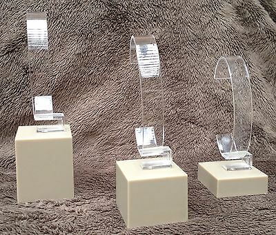 Set of 3 Fossil Plastic Watch Display Stands - New in packaging