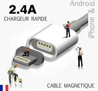 Cable magnetique USB 2.4 A pour iPhone 6 5 5s 6s Plus , Samsung. Charger Data