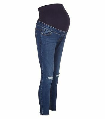 Maternity New Look Over the Bump Busted Ripped Knee Jeans Blue Size 16 Leg 24