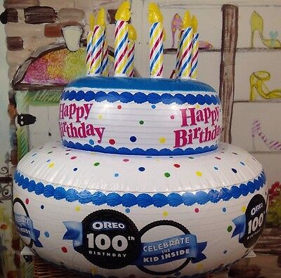 Happy Birthday Inflatable Birthday Cake With 10 Candles Oreo 100th Anniversary