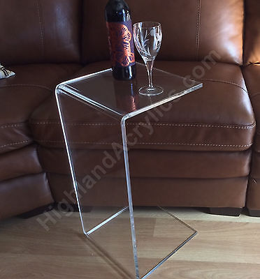 """C-Table Clear Acrylic Lucite Plexiglass END SIDE TABLE 26"""" high couch laptop"""