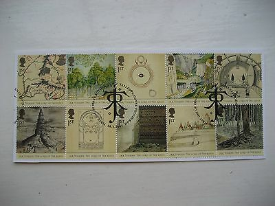 Gb 2004 Lord Of The Rings Full Set Sg2429/38 Vfu Stamps As Block Of 10