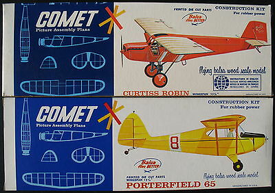 2x COMET 3101 3106 - PORTERFIELD 65  CURTISS ROBIN - Holz Flugzeug Bausatz - Kit