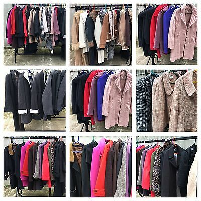 Job Lot Of 60 Wool Coats - Mix Of Eras Styles Modern Vintage Sheepskin Boucle