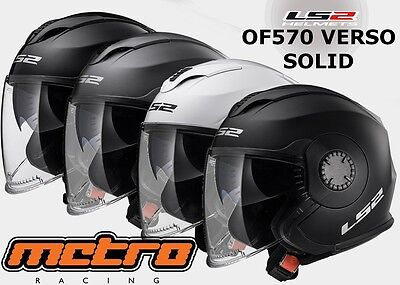 Ls2 Of570 Verso Solid Open Face Helmet Black, White, Matt Black, Matt Titanium