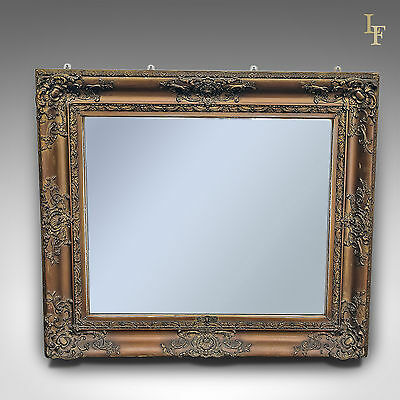 Antique Wall Mirror, Victorian, Gilt Gesso Overmantel Frame with Later Plate