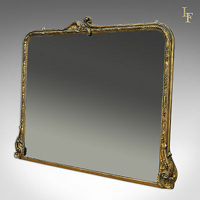 Antique Overmantel Mirror, Large, Victorian, Wall, Quality
