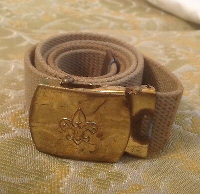 Vintage Boy Scout Belt With Brass Insignia Buckle