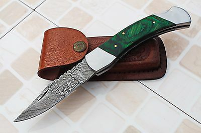 DAMASCUS CUSTOM HANDMADE FOLDING  KNIFE w/LOCK BACK,FILE-WORK,ROSE WOOD, AB-50-8
