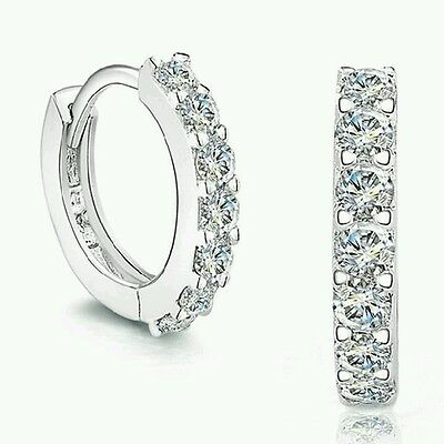 Gemstones Crystal Sterling Silver Hoop Jewelry White Earrings Wedding UK SELLER^