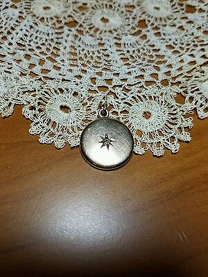 Antique Gold Filled Mourning Locket with Diamond in Starburst, 20mm
