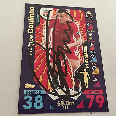 match attax 16 17 signed PHILIPPE COUTINHO LIVERPOOL card SIGNED