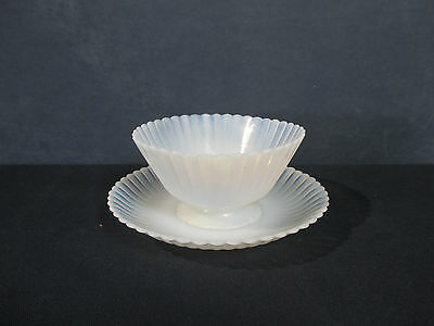 Macbeth Evans Petalware Cremax Pedestal Dish Saucer White Milkglass Set of 2