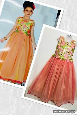 Partywear Fancy Kid Long Ball dress Designer Gown Anarkali Frock age 3-12 yrs