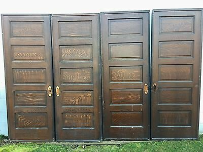 "2 PAIR (4) ANTIQUE 5 RAISED PANEL POCKET SLIDING ROLLER BARN DOOR 31"" x 84"""